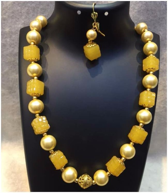 Stunning Yellow Necklace and Pendant Earrings Set Pearl Women Fashion Jewelry #Unbranded #Bib