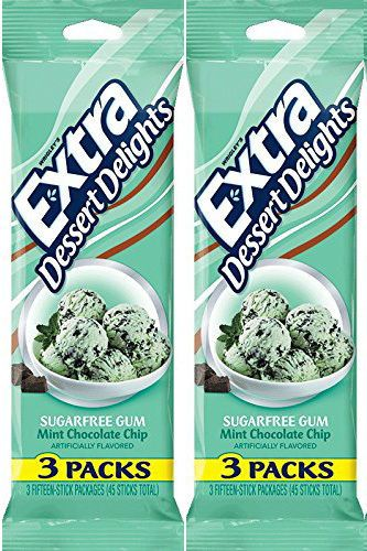 Wrigleys Extra Mint chocolate Chip Sugar Free Chewing Gum Wrigley's 2 Packages #Wrigley