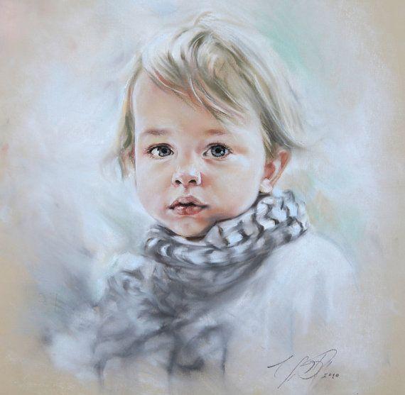 Aangepaste Pastel portret schilderij van kind van fotografie