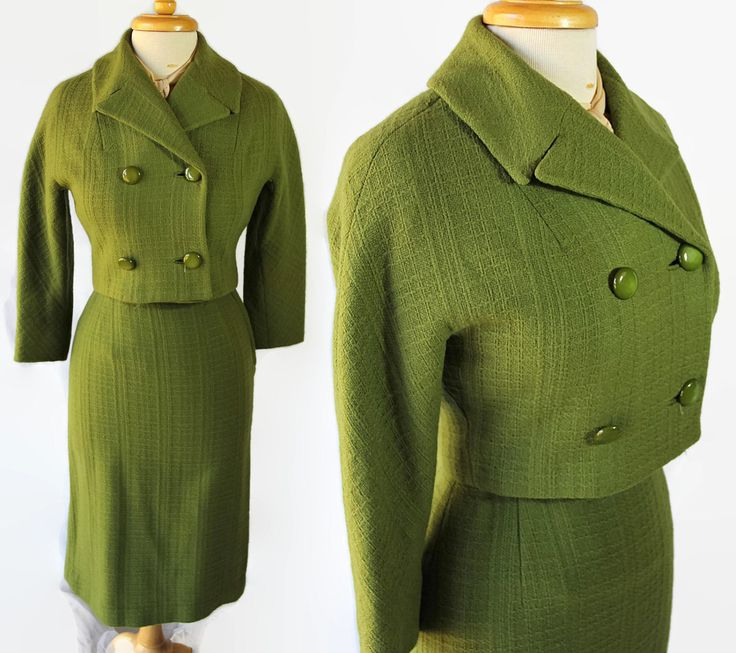 50s Olive Green Suit Jacket Wiggle Skirt Mad Men Party Petite by PetticoatsPlus on Etsy