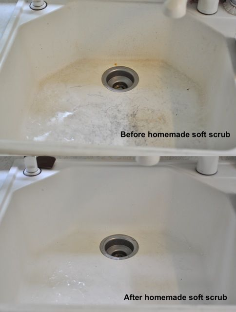 Homemade soft scrub, laundry detergent, fabric softener, and essential household cleaner