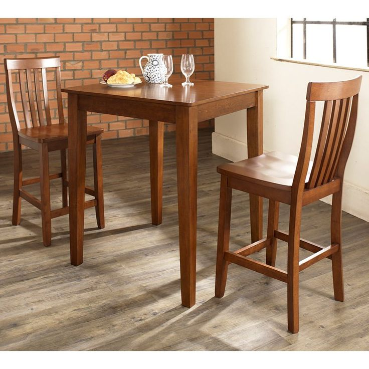 Crosley 3-Piece Pub Dining Set with Tapered Leg and School House Stools - KD320007
