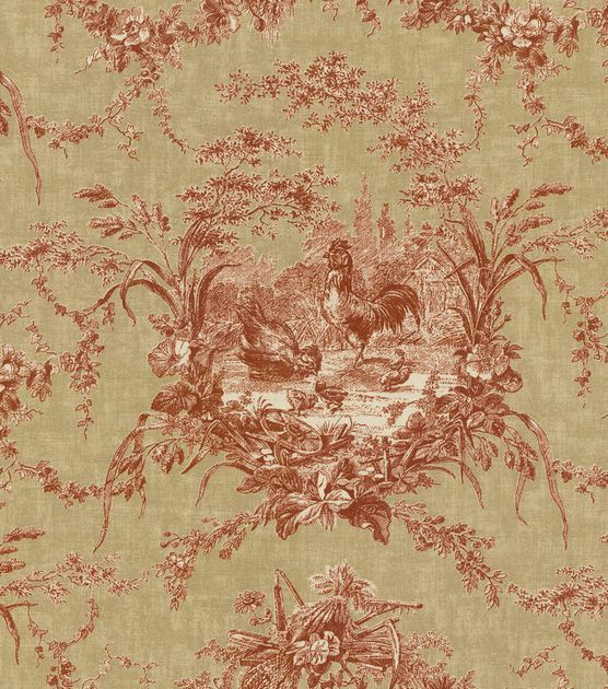 Waverly Upholstery Fabric-La Petite Ferme/Ruby