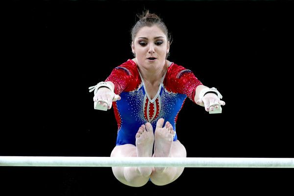 Aliya Mustafina of Russia competes on the uneven bars during Women's qualification for Artistic Gymnatics on Day 2 of the Rio 2016 Olympic Games at the Rio Olympic Arena on August 7, 2016 in Rio de Janeiro, Brazil. - Gymnastics - Artistic - Olympics: Day 2