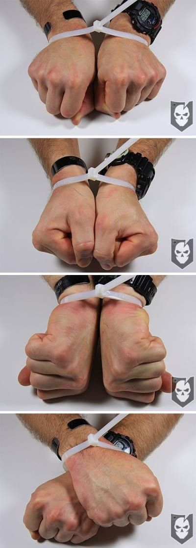 Zip ties are one of the most common restraint tools used by kidnappers, since they're much cheaper than handcuffs. Using just your own body and some determination, you can force your way out of them.Instructions here.