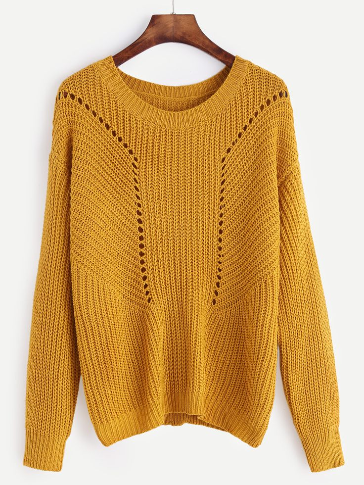 Mustard Drop Shoulder Eyelet Sweater — 15.15 € ------------------color: Mustard size: one-size