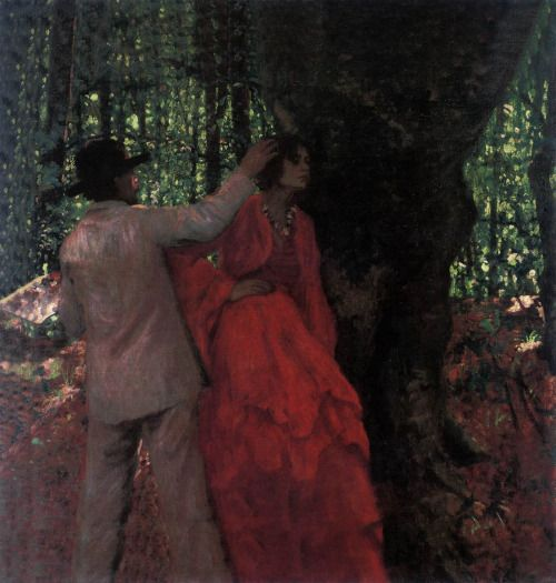 FERENCZY, Károly Painter and Model in the Woods 1904 Oil on canvas, 120 x 135 cm Private collection