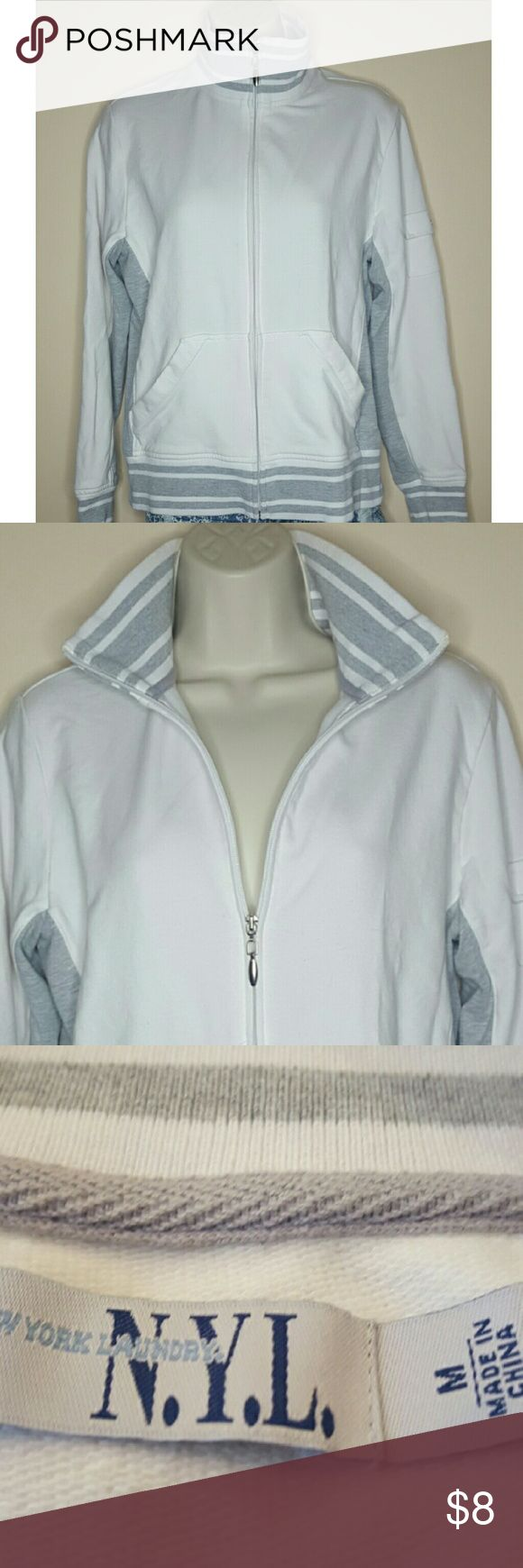 N.Y.L. White and Gray Athletic Jacket Women's New York Laundry white and gray athletic track jacket. Size medium, good condition! New York Laundry Jackets & Coats Utility Jackets
