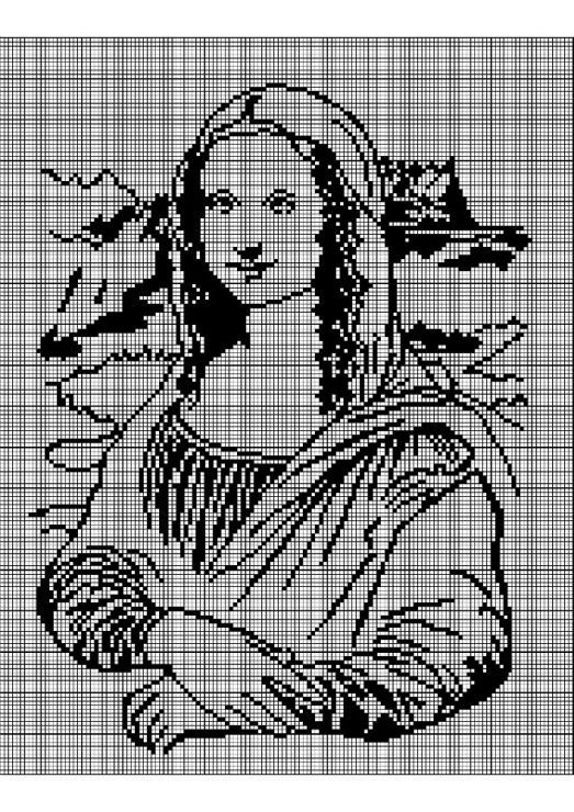 0 point de croix monochrome - cross stitch mona lisa