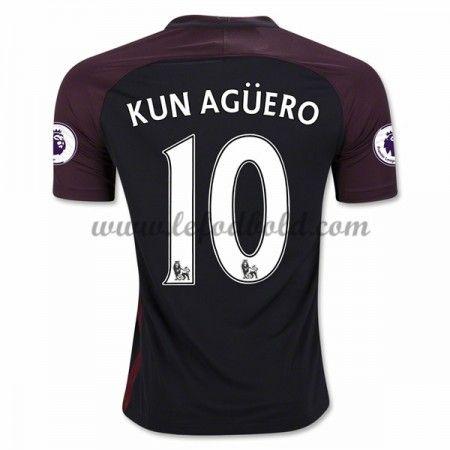 Billige Fodboldtrøjer Manchester City 2016-17 Kun Aguero 10 Kortærmet Udebanetrøje