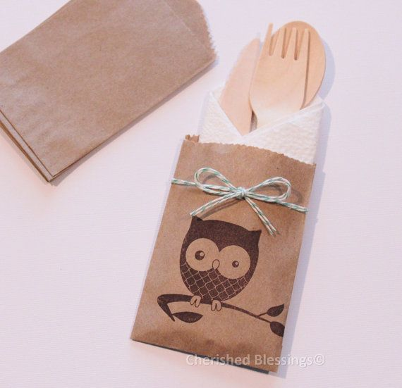 Table Settings Owl Woodland Rustic 10 Flatware Bags Wooden Flatware Utensils Cutlery Birthday Party Baby Shower Favors Paper Goods
