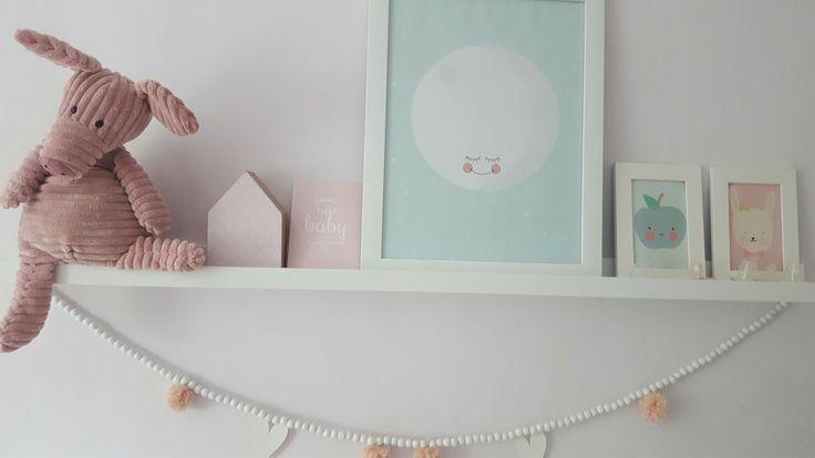 Meisjes babykamer oud roze/mint girlsroom decoration