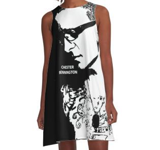A-Line Dress • Also buy this artwork on apparel, stickers, phone cases, and more.  #ripchesterbe #ripchesterbennington #rockstar #hipmetal #metal #pop #chesterbennington #music #musician #masterpiece #legend #allstar #linkinpark