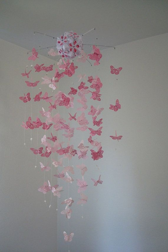 Monarch Butterfly Chandelier   Mobile pink by DragonOnTheFly, $45.00 available at etsy.com