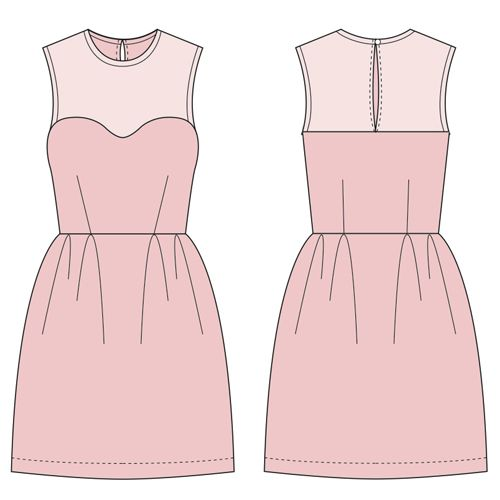This dress features a sweetheart neckline, darts, pleats, bias binding and a button closure. Make the yoke out of a sheer or different fabric for contrast!  IMPORTANT: When you print out your pattern, make sure you're printing at 100% scale and NOT scale to fit. Also, make sure the test square is correct on the first page of the pattern. You will have an inaccurate size pattern if you are off at all.