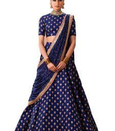 Buy Nevy blue embroidered banglory silk unstitched lehenga choli lehenga-choli online