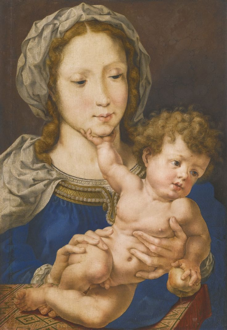 Jan Gossaert, called Mabuse MAUBEUGE (?) CIRCA 1478 - 1532 ANTWERP (?) THE VIRGIN AND CHILD oil on oak panel 38.9 by 26.6 cm.; 15 3/8  by 10 1/2  in.: