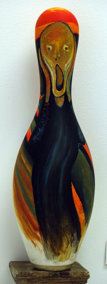 """""""Le cri"""" de Munch, sur une quille, par Adeline Lamarre."""