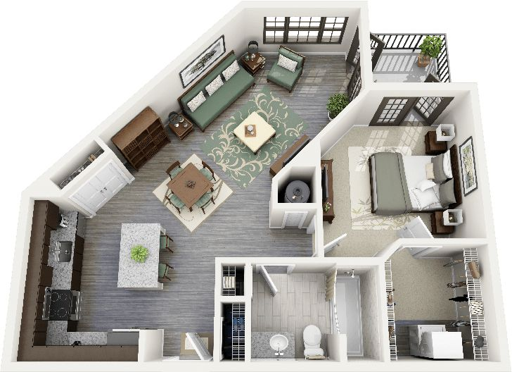 Studio Apartment Floor Plans 3D Ideas Design 1 Design Ideas