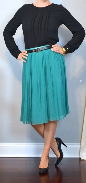 outfit post: black pleated blouse, teal midi skirt, black pumps | Outfit Posts