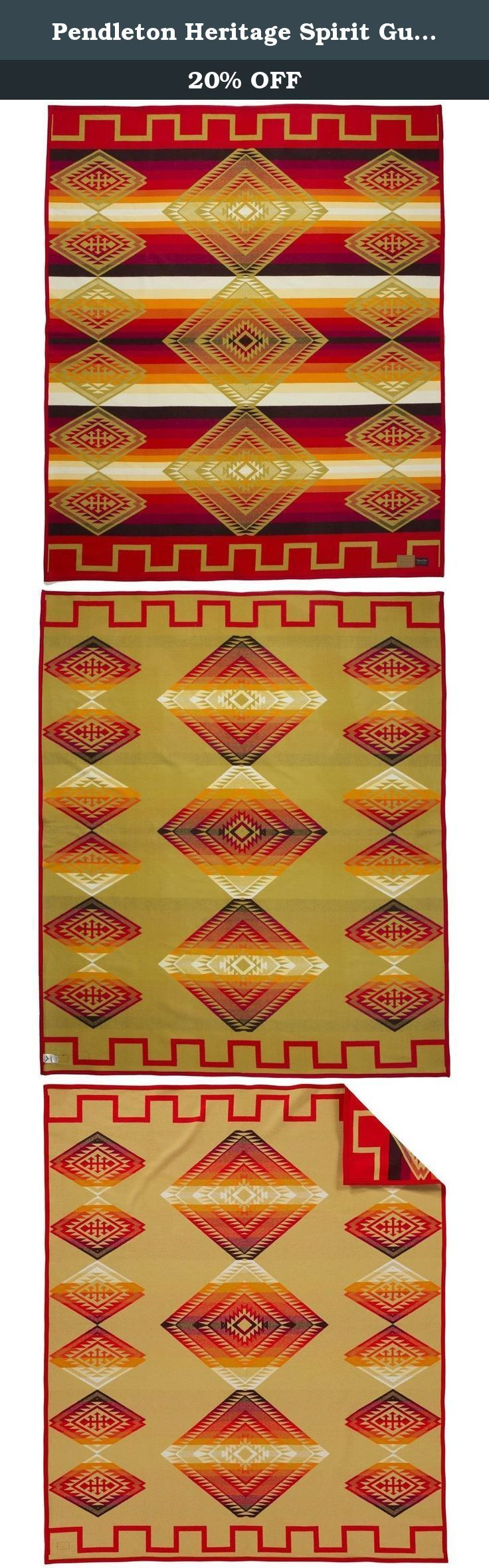 Pendleton Heritage Spirit Guide Wool Throw. Spirit Guide is an archival Pendleton design from the 1920s or 1930s, and is a beautiful example of a Center Point pattern-one that contains a central design element that falls within a band through the center of the blanket. This central diamond may be an abstract representation of the eye of the shaman or medicine man.