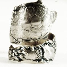 Turtle Ring Sterling silver Spoon Ring Oyster Ring by Spoonier