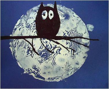 Moonlight and owl art lesson for kids