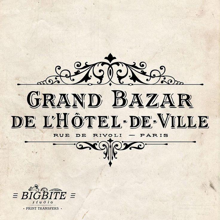 Water Decal Print Transfer – Vintage Hotel de Ville Grand Bazar Advert #062 #BigBiteStudio