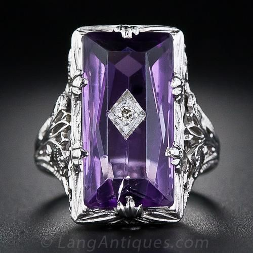 Vintage Amethyst and Diamond Filigree Ring