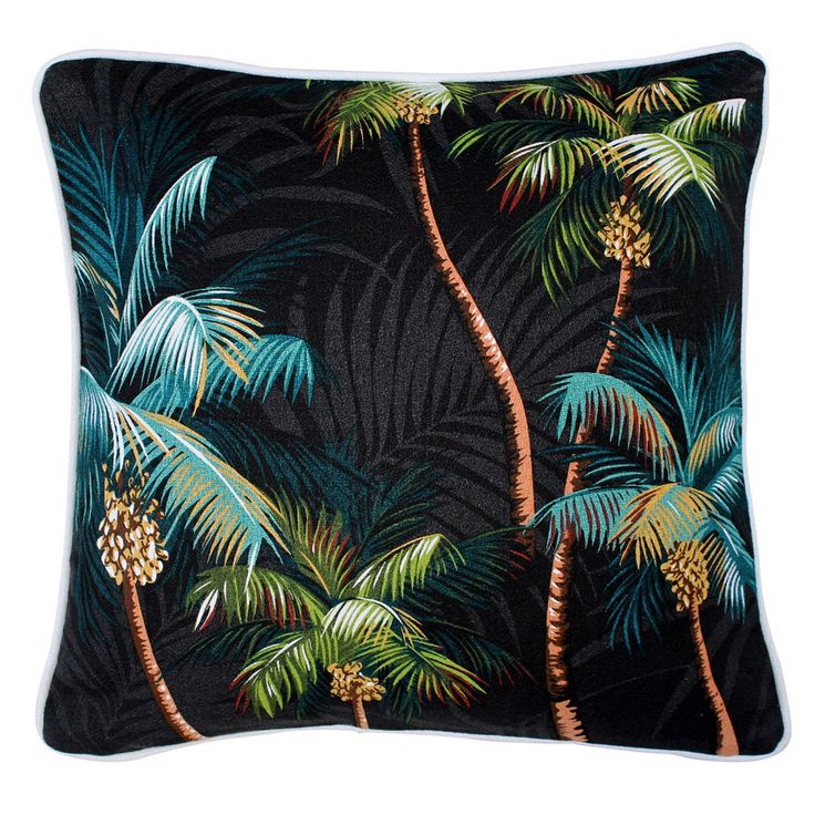 """Black Palms Tropical Cushion . White Piping 45cm / 18"""" by TiareDesign on Etsy"""