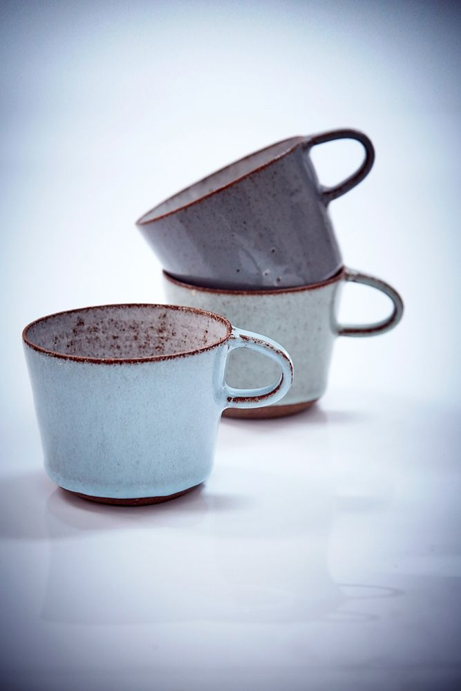 Lovely ceramic cups. We'd love to drink hot chocolate from them. camillahey.dk