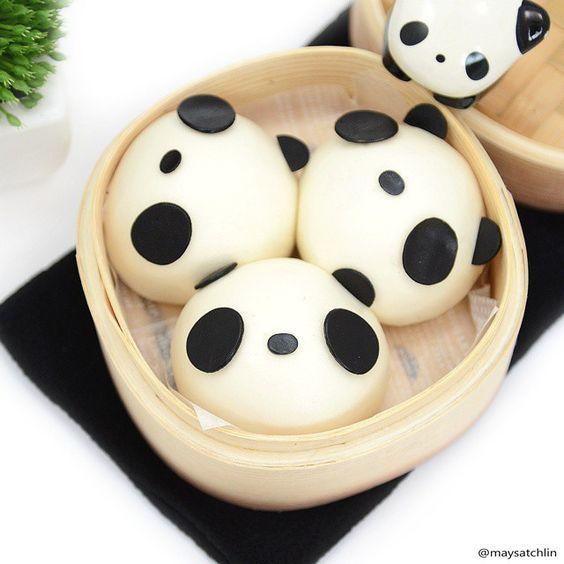Panda Steamed Buns | Japanese food ♥&♥Art | Pinterest
