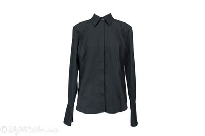 MODA INTERNATIONAL Black French Cuff Long Sleeve Stretch Dress Shirt Size L at http://stylemaiden.com