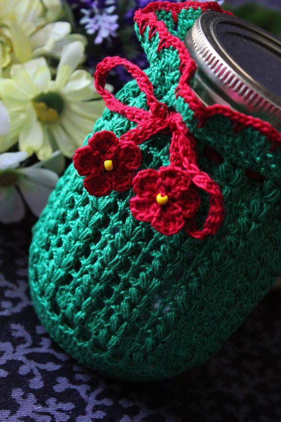 Crochet Green and Red Mason Jar cozy by DoilyMania on Etsy, $12.00