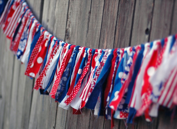 Independence Day Shabby Torn Fabric Rag Garland Banner Bunting, Holiday Decor, Photo Prop - Red, White, Blue - 6 feet - READY TO SHIP. $ 55.00, via Etsy.