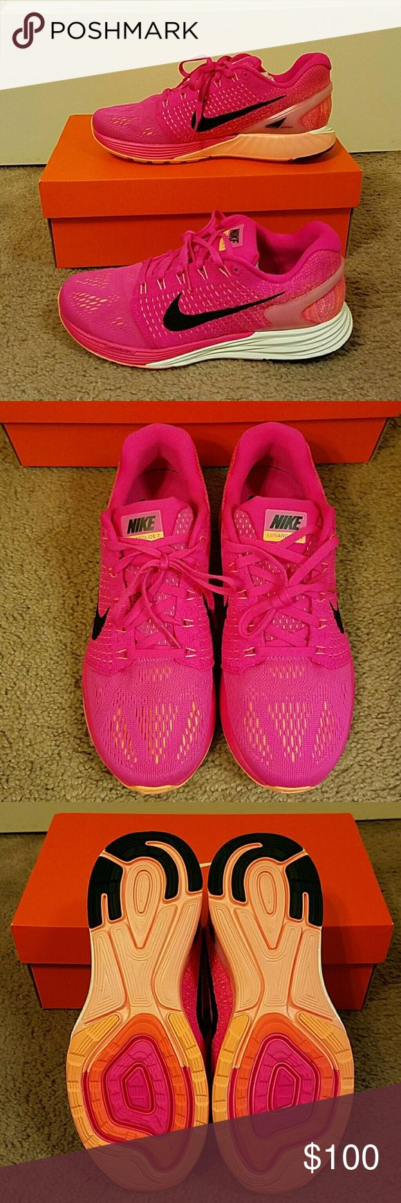 Women's Nike Lunarglide 7 sneakers Women's Nike Lunarglide 7 sneakers in pink foil. Brand new amd never worn! Includes original box! Price is firm ?? Nike Shoes Sneakers