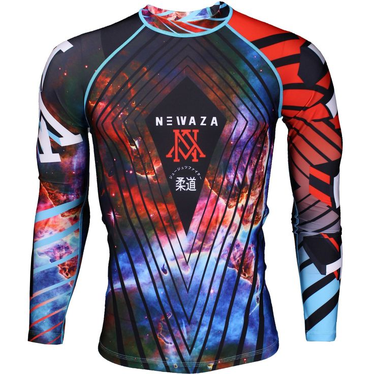 Explore the galaxy of grappling in the new Newaza Apparel Galaxy Version 2 rashguard! Graphic may slightly vary from actual garment Newaza in katakana down the left sleeve NA logo on the right NEW POLYESTER ELASTHENE BLEND  MOISTURE WICKING  NEW FLEXIBLE FLATLOCK SEAMS  SUBLIMATED FULL COLOR