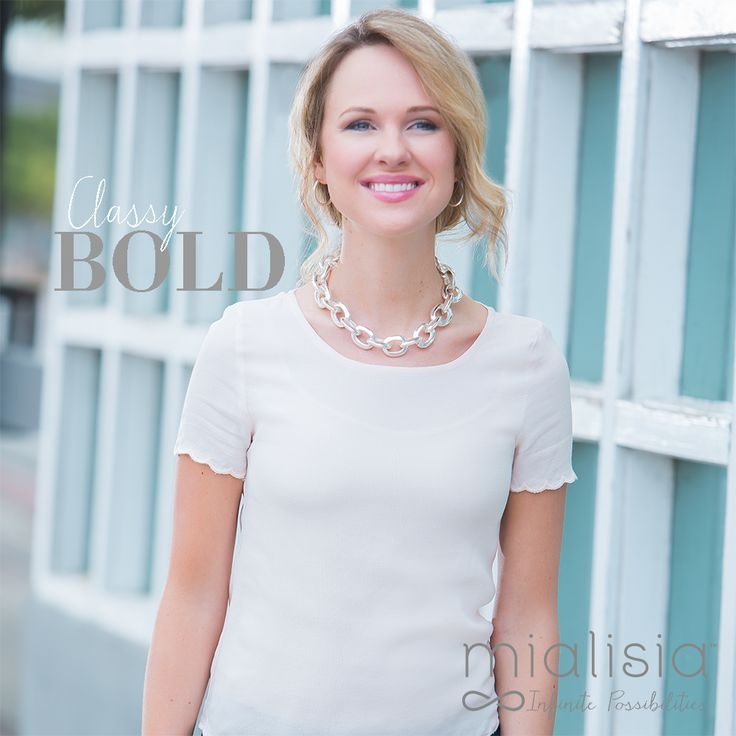 Classy Bold. Keep it simple and make a bold statement with this silver Fortitude necklace from Mialisia VersaStyle™