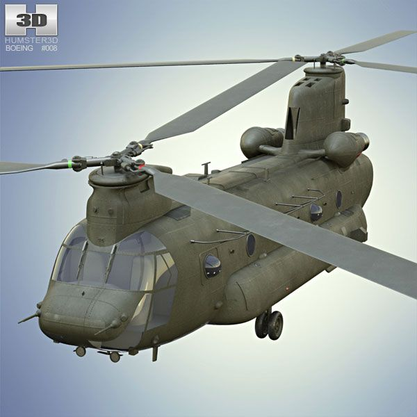 Boeing CH-47 Chinook 3d model from humster3d.com. Price: $150