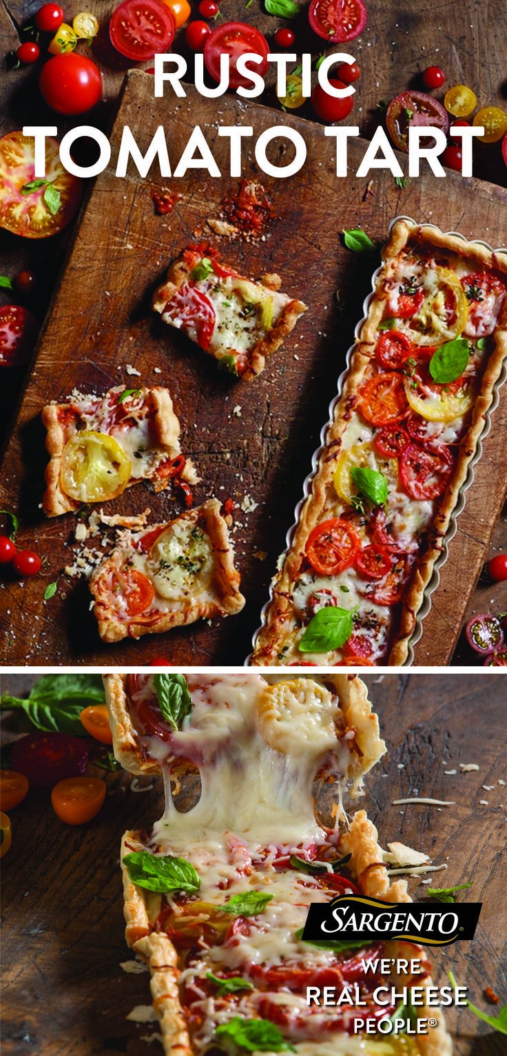 Devouring a delicious slice of this rustic tomato tart is a great way to start your day. But don't take our word for it...bake one and let your taste buds do the talking. The combination of sliced tomatoes, fresh herbs and our shredded 6 cheese Italian is proof that great tasting meals start with cheese fresh off the block. Visit Sargento.com to bite into the complete recipe.