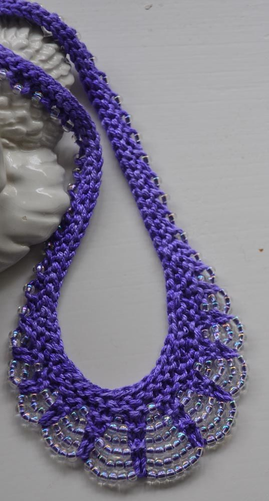Knitting Pattern for Scallop Edge Beaded Necklace - The original pattern for ...