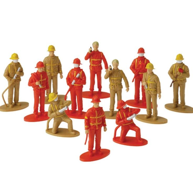 """US Toy Firefighter Toy Figures. 12 per package. You can also use these firemen as cake topper decorations or a party favor in a birthday loot bag. Each figure is on a base that makes it free standing. Made of Plastic. Sizes range from 2"""" T. to 2 3/4."""