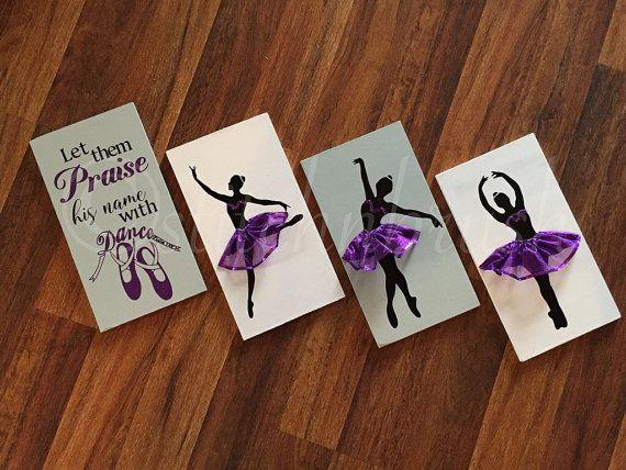 Ballerina silhouette room decor psalm 149:3 praise by stitchNbrush