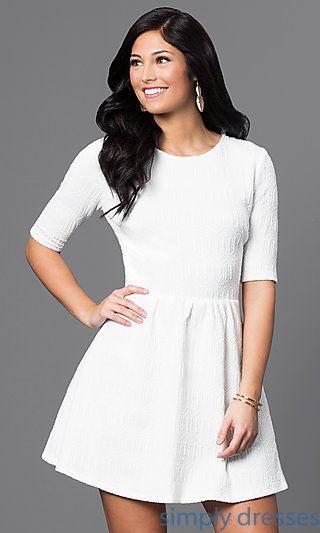 Short Off-White Sheer-Back Short Sleeve Dress