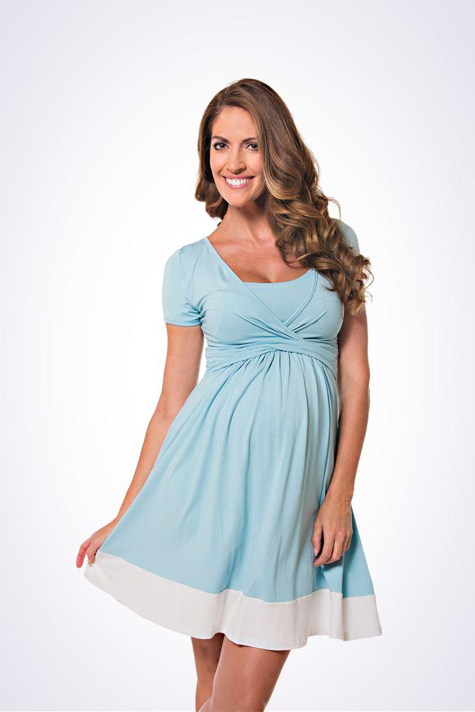 The Lonzi&Bean UltiMum maternity and breastfeeding maxidress in Duckegg-Vanilla