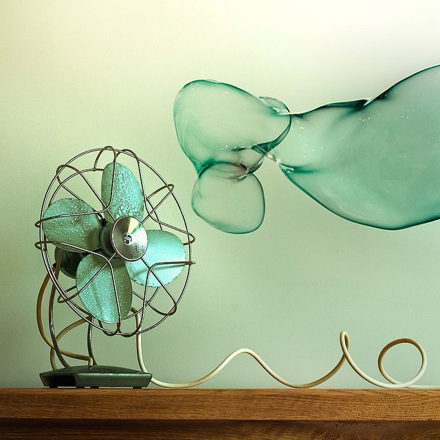 flickr find by Cuba Gallery. {i adore the color in this photo + the vintage fan + the added bubbles!}