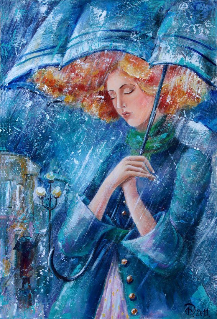 Invierno, lluvia - Ilustración Yana Fefelova