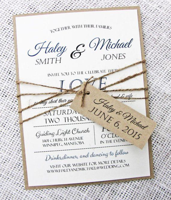 Rustic Wedding Invitation Modern Rustic Wedding by LoveofCreating