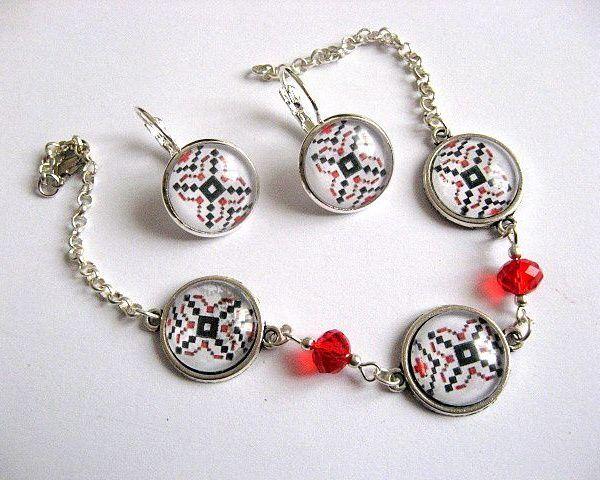Bijuterii motive traditionale bratara si cercei sticla si cristale  - idei cadouri femei