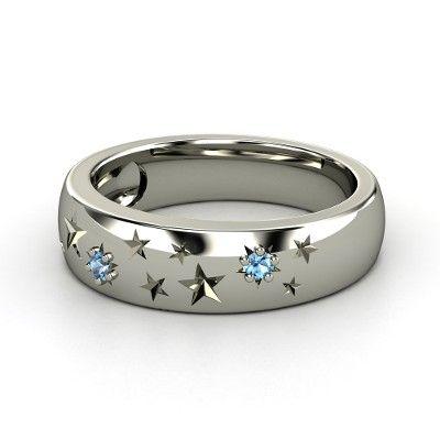 14K White Gold Ring with Blue Topaz - Written in the Stars Ring   Gemvara